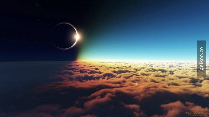 Bulutların üzerinden güneş tutulması