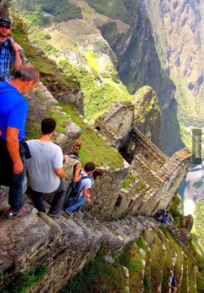 Peru - Machu Picchu'daki merdivenler