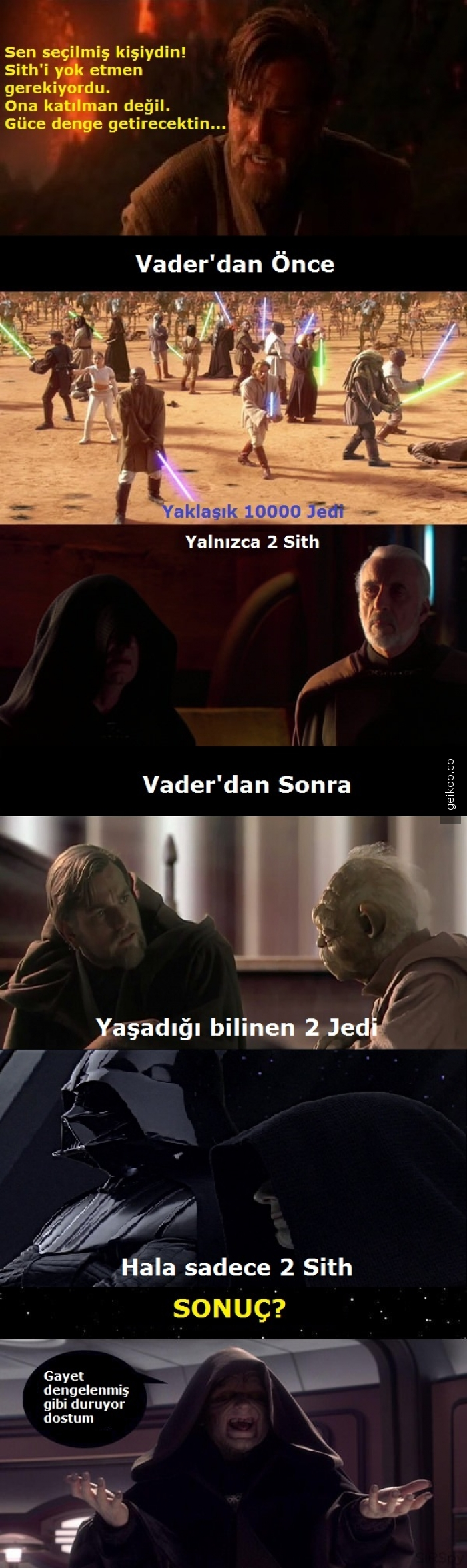 Darth Vader aslında güce dengeyi getirdi