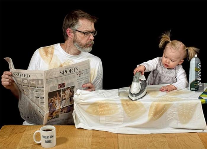 yaratıcı baba ve aşırı tatlı kızı