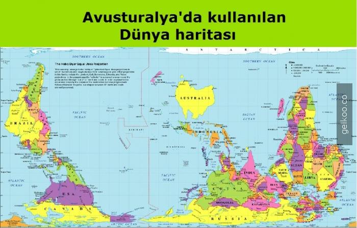 Avusturalya'da kullanılan Dünya haritası
