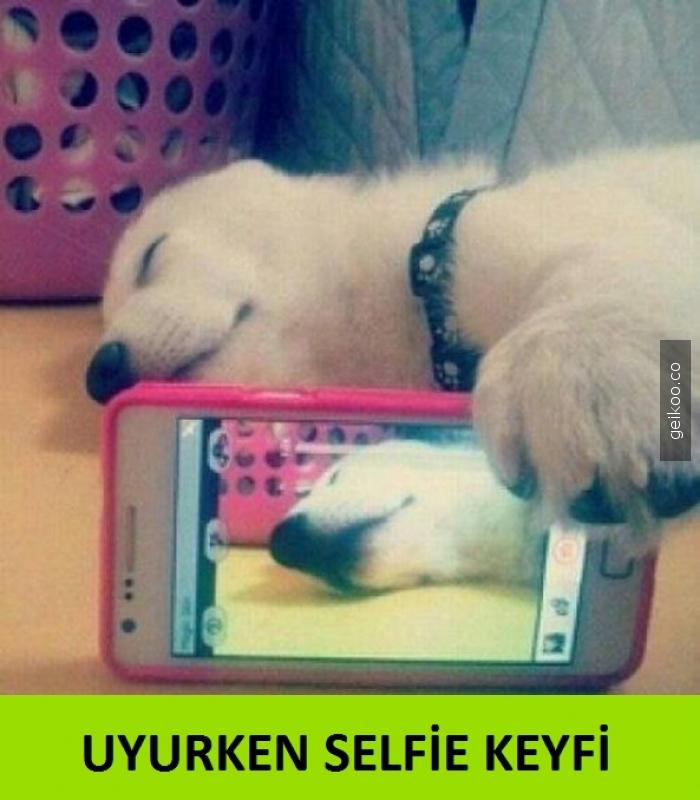 uyurken selfie keyfi