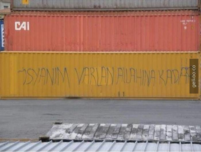 Gelen konteynır üzerinde bir yazı var, önemli bir uyarımı? Lütfen tercüme!